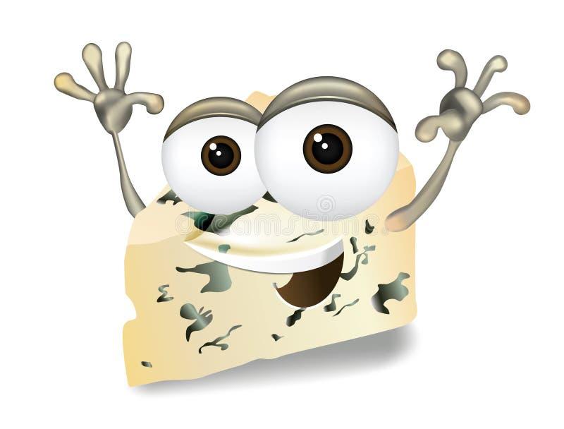 Tecken för tecken för tecknad film för ost för lycklig roquefort-, Gorgonzola eller Stiltonvektor skratta, gulligt och roligt mej vektor illustrationer