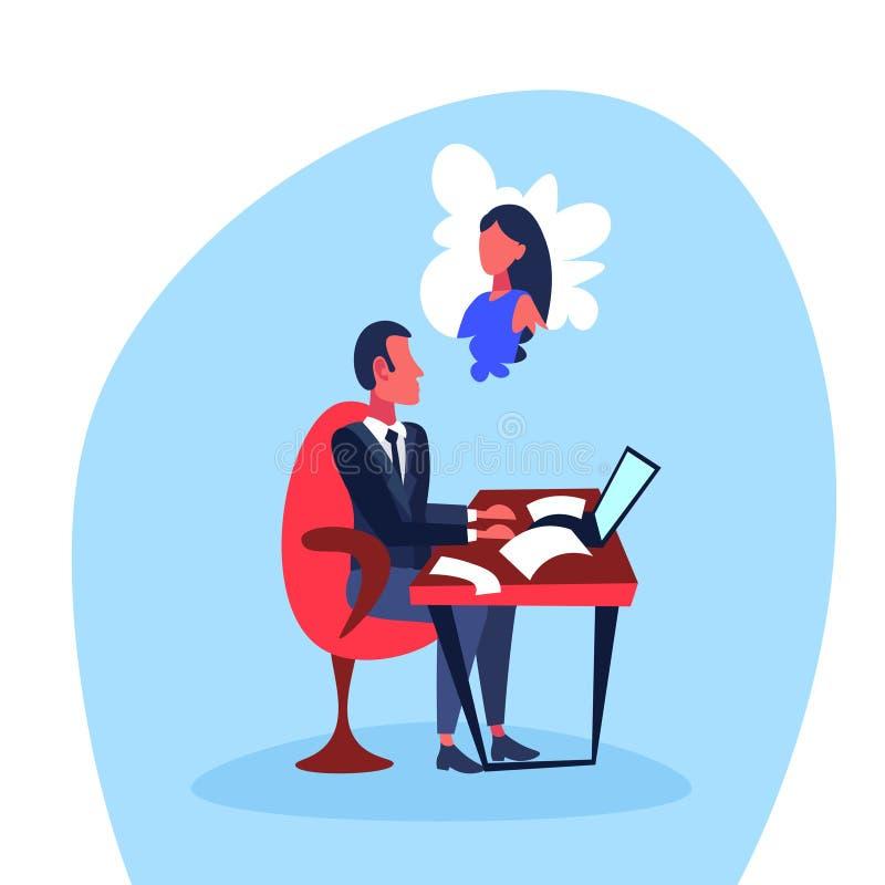 Tecken för tecknad film för begrepp för kvinna för förblindad arbetsplats för affärsmansammanträdekontor isolerat tänkande dröm-  vektor illustrationer