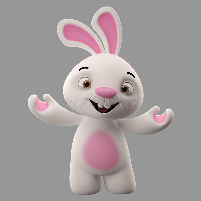 tecken för tecknad film 3D, easter kanin royaltyfri illustrationer