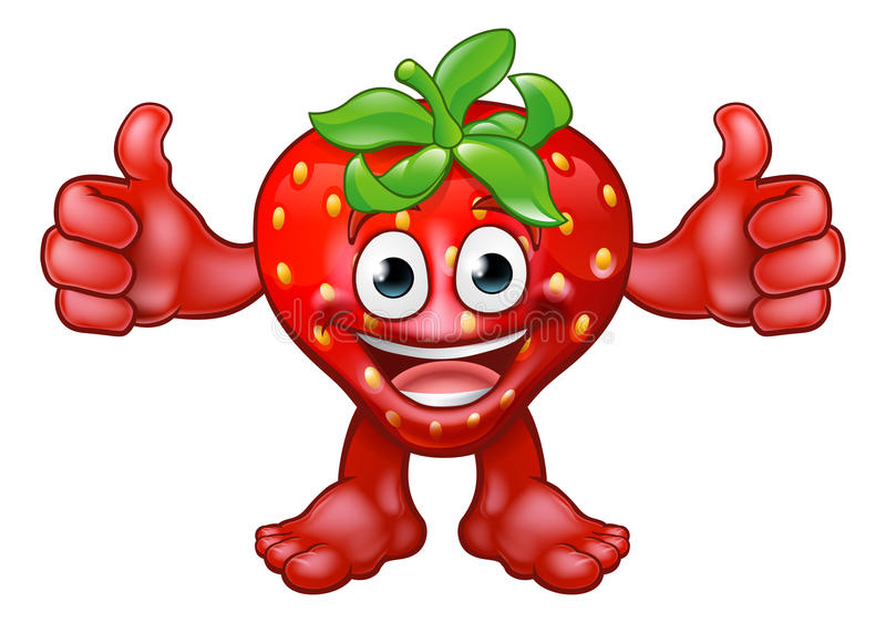 Tecken för tecknad film för fruktjordgubbemaskot vektor illustrationer