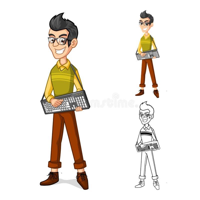 Tecken för tecknad film för Geekpojkemaskot som rymmer ett datortangentbord stock illustrationer