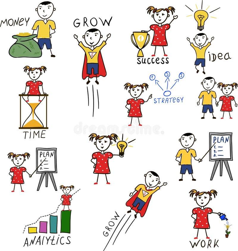 Tecken för tecknad film för teckning för affärsungehand stock illustrationer
