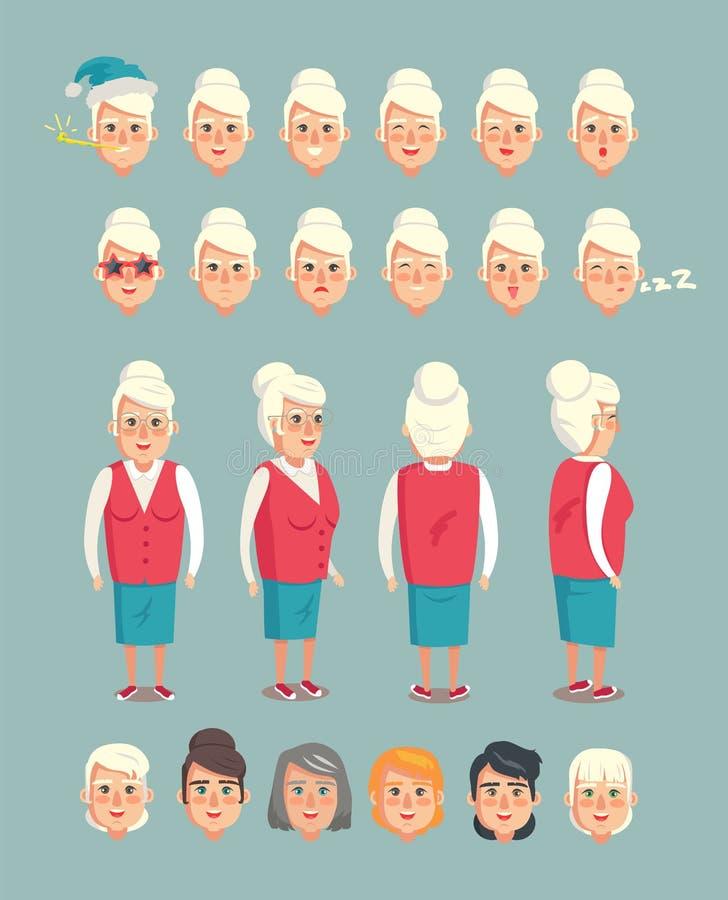 Tecken för tecknad film för farmorkonstruktör livligt royaltyfri illustrationer