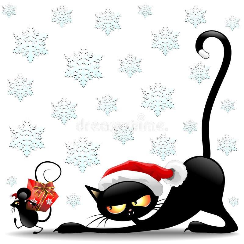 Tecken för tecknad film för katt- och musjul roliga stock illustrationer