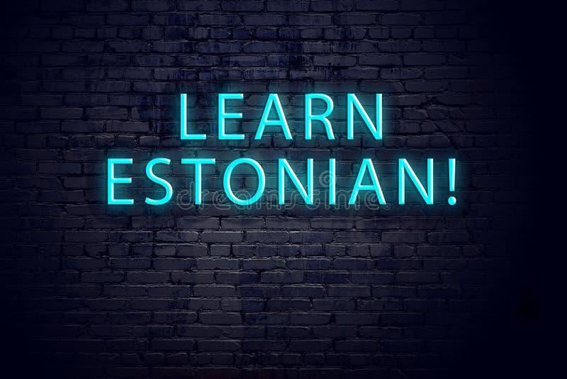 Tecken för tegelstenvägg och neonmed inskriften Begrepp av att lära estonian arkivfoton