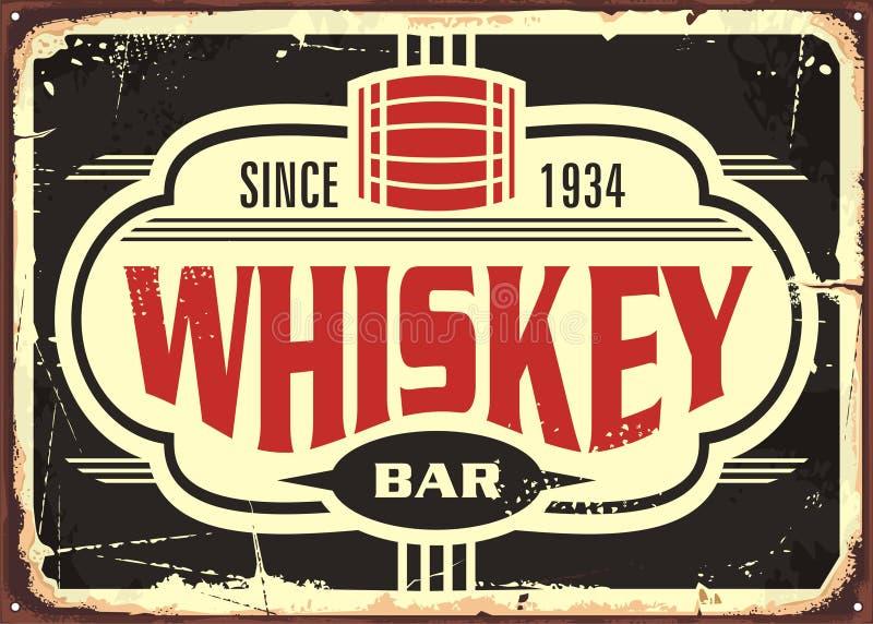 Tecken för tenn för whiskystångtappning royaltyfri illustrationer