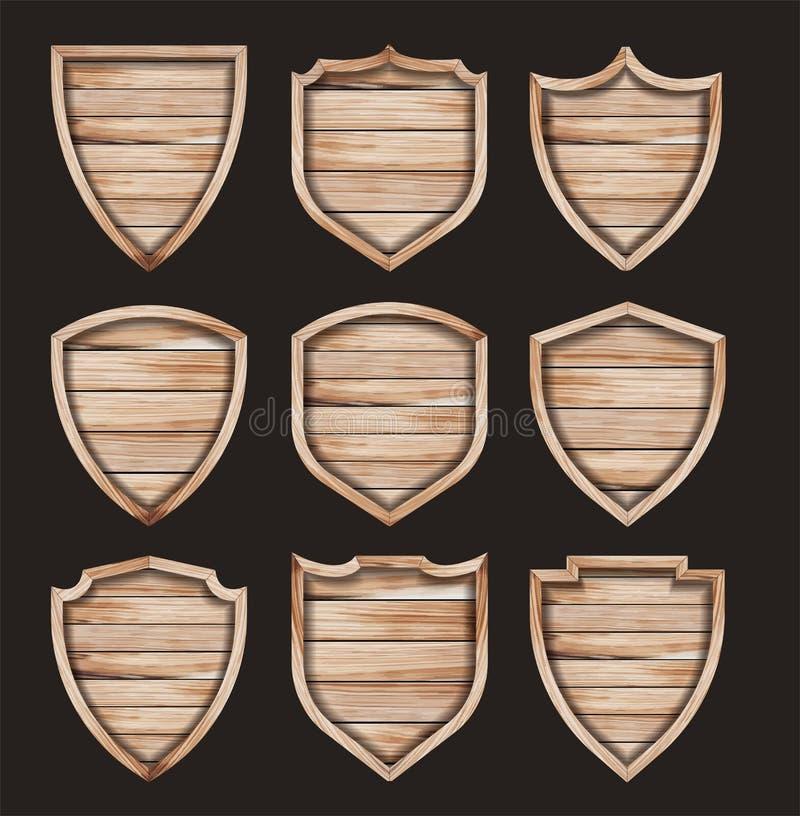 Tecken för textur för vektorträsköld realistiskt trä royaltyfri illustrationer