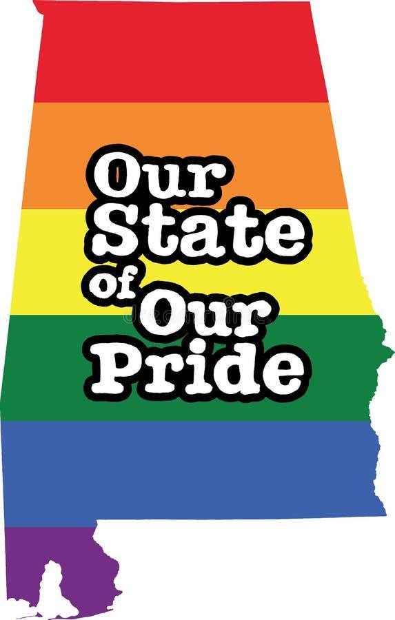 Tecken för tillstånd för vektor Alabama för glad stolthet stock illustrationer
