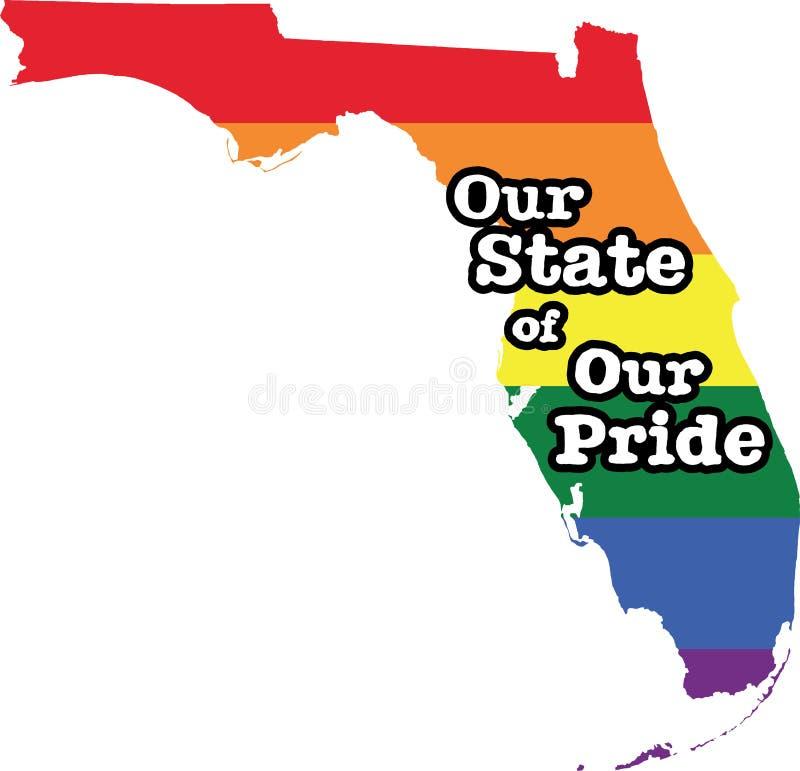 Tecken för tillstånd för vektor Florida för glad stolthet vektor illustrationer
