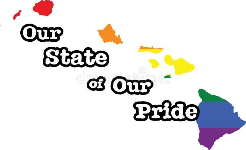 Tecken för tillstånd för vektor Hawaii för glad stolthet stock illustrationer