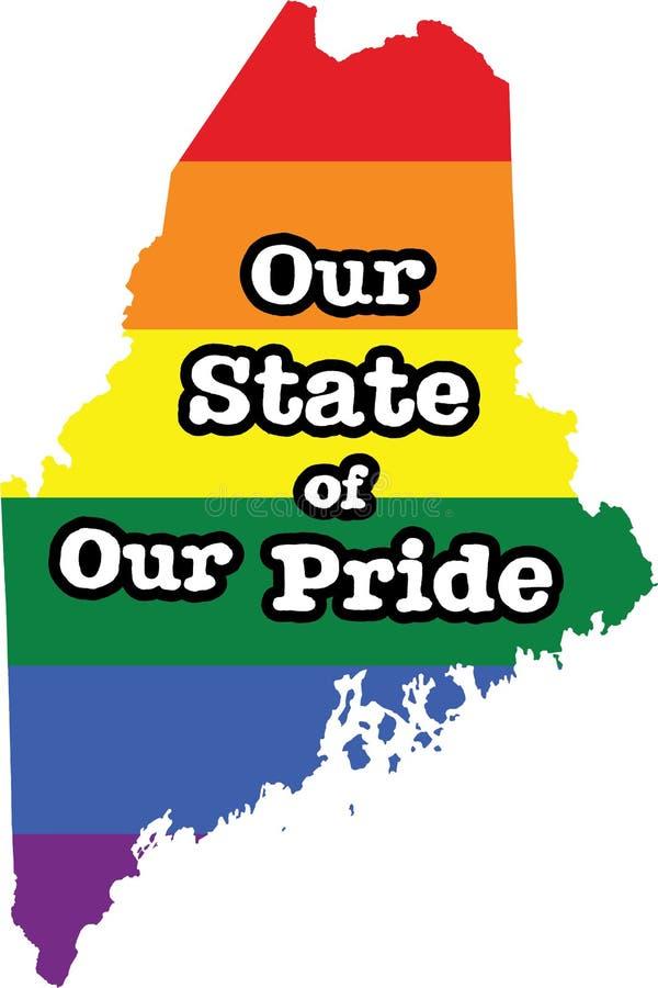 Tecken för tillstånd för vektor Maine för glad stolthet vektor illustrationer