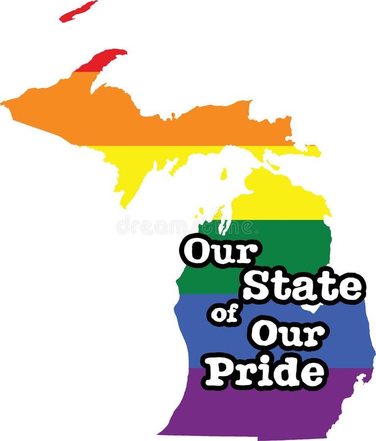 Tecken för tillstånd för vektor Michigan för glad stolthet royaltyfri illustrationer