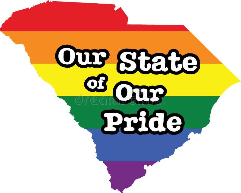 Tecken för tillstånd för vektor South Carolina för glad stolthet stock illustrationer