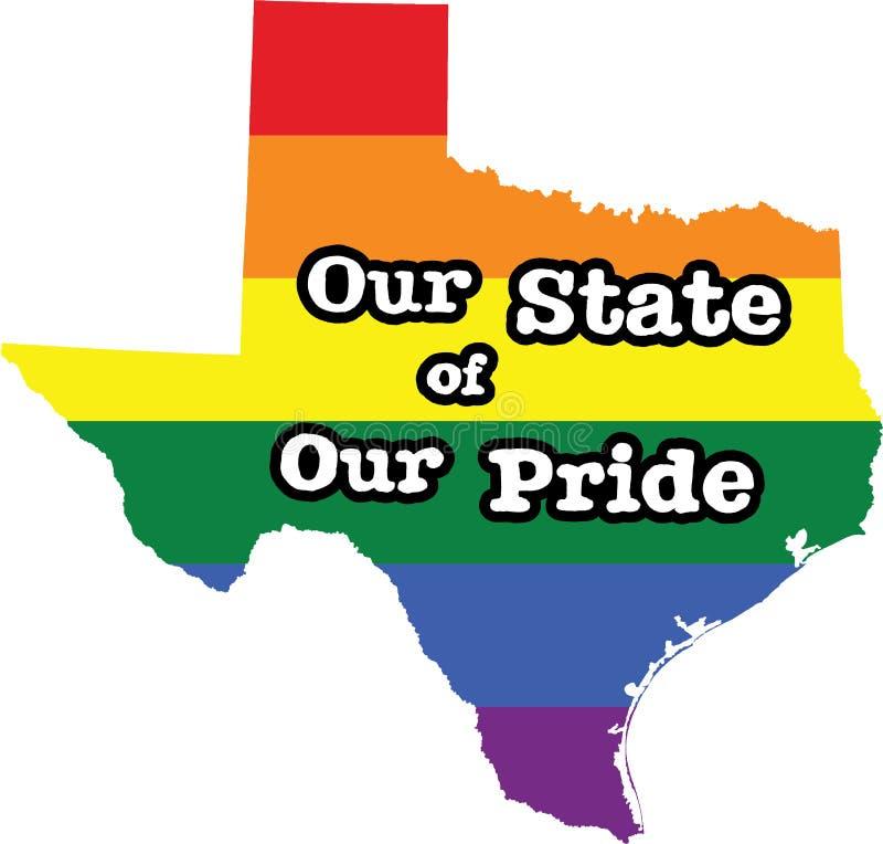 Tecken för tillstånd för vektor Texas för glad stolthet stock illustrationer