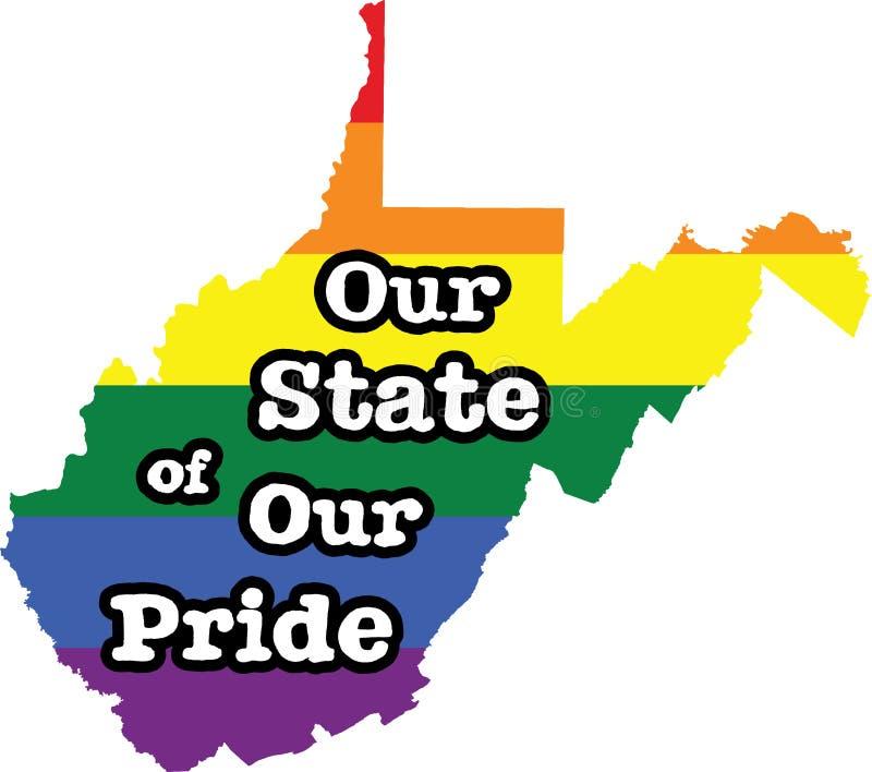 Tecken för tillstånd för vektor West Virginia för glad stolthet stock illustrationer