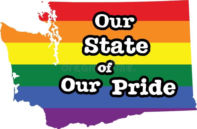 Tecken för tillstånd Washington för glad stolthet stock illustrationer