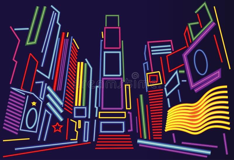 Tecken för Times SquareNew York City neon vektor illustrationer