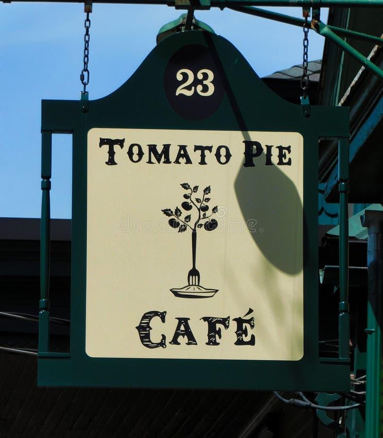 Tecken för tomatpajkafé arkivbilder