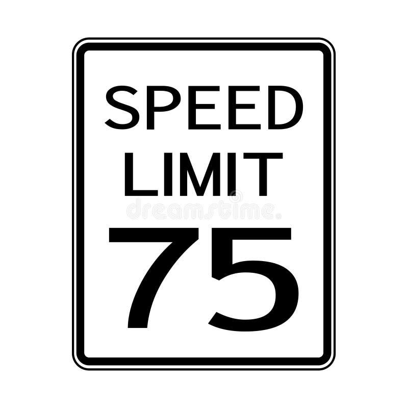 Tecken för trans. för USA vägtrafik: Hastighetsbegränsning 75 på vit bakgrund, vektorillustration royaltyfri illustrationer