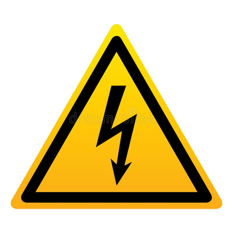 Tecken för triangel för hög spänningsfara gult royaltyfri illustrationer