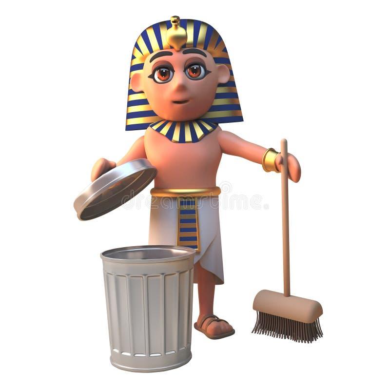 Tecken för Tutankhamun farao som 3d gör ren med en kvast och att racka ner på facket, illustration 3d vektor illustrationer