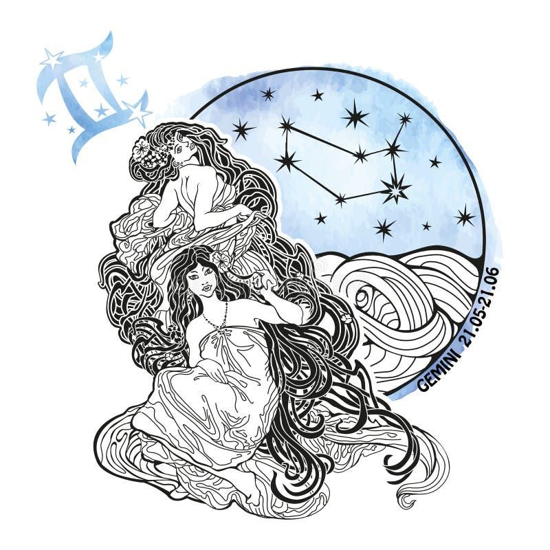 Tecken för Tvillingarnaflickazodiak På en vit bakgrund royaltyfri illustrationer