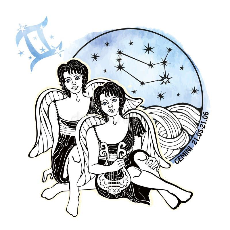 Tecken för Tvillingarnapojkezodiak På en vit bakgrund vattenfärg vektor illustrationer