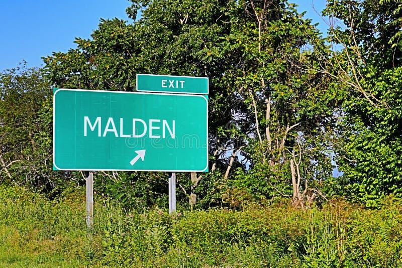 Tecken för USA-huvudvägutgång för Malden arkivfoto