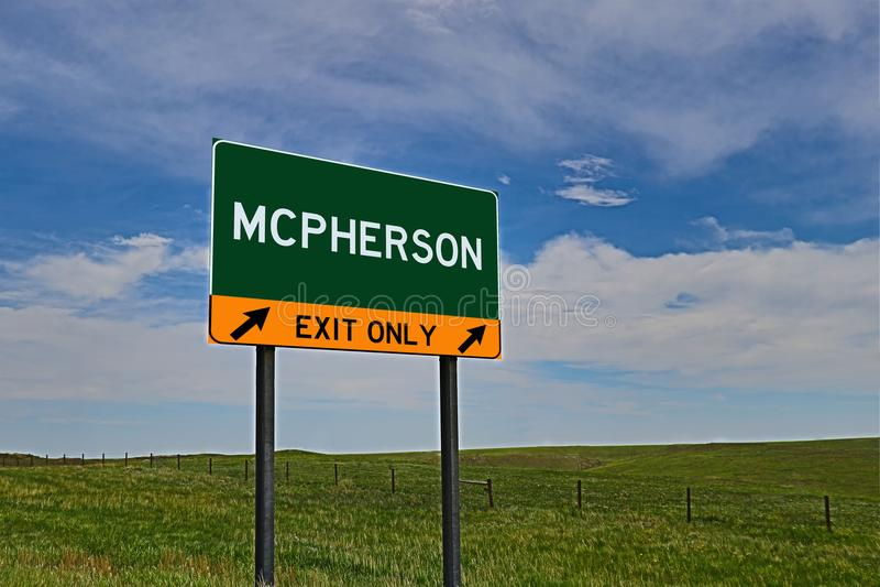 Tecken för USA-huvudvägutgång för McPherson royaltyfri foto