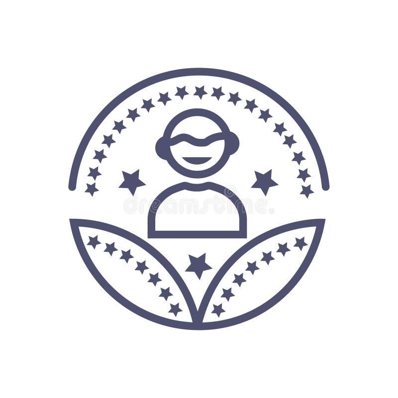 Tecken för utmärkelse för användare för vektor för person- eller manutmärkelsesymbol vektor illustrationer