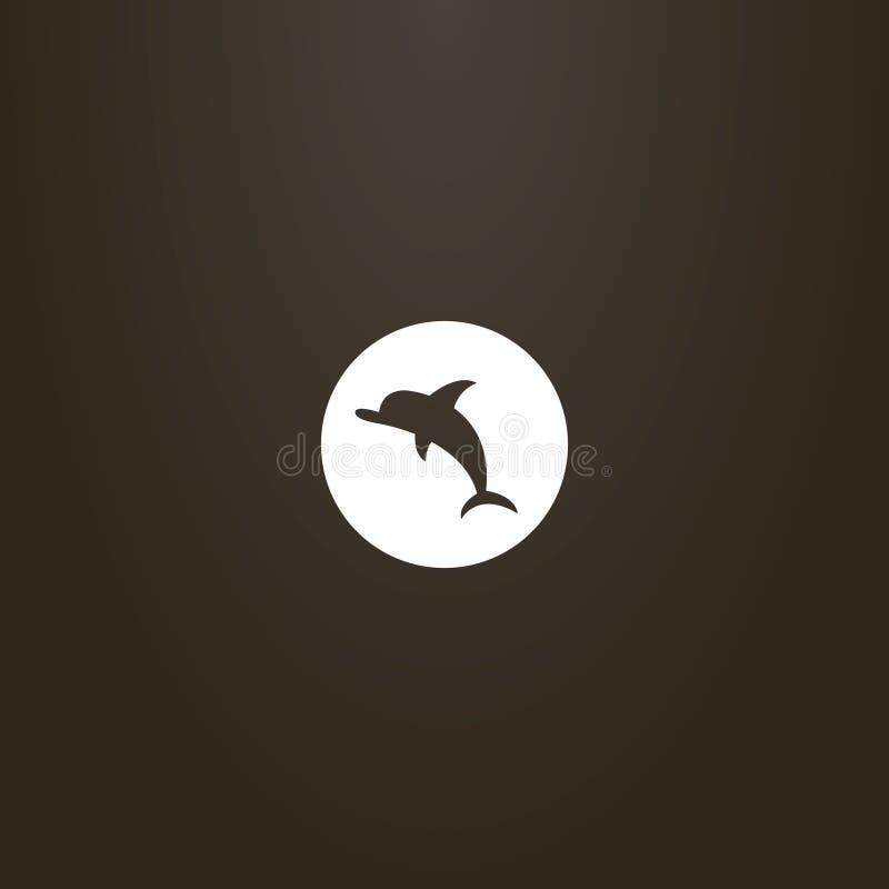 Tecken för utrymme för plan konst för vektor negativt av delfin i en rund ram stock illustrationer