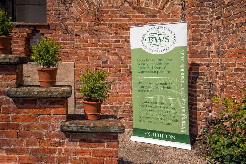 Tecken för utställning för Birmingham akvarellsamhälle, Hanbury Hall royaltyfria foton
