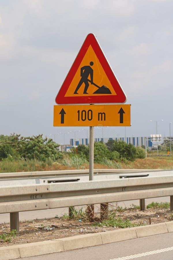 Tecken för vägarbeten arkivbild