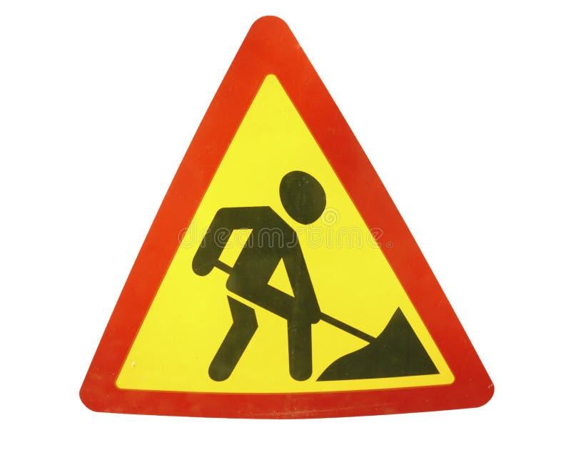 Tecken för vägarbeten för byggnationer i gata arkivfoton