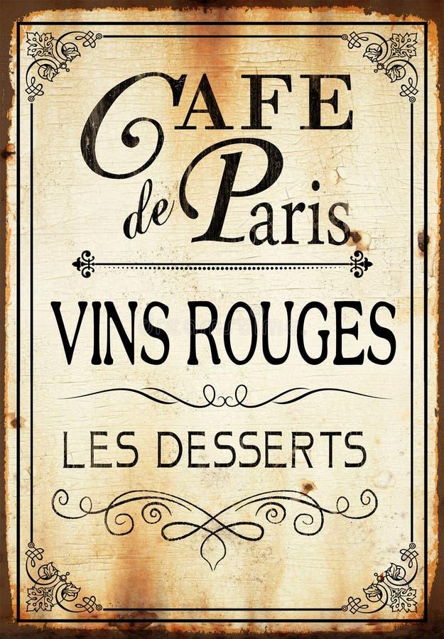 Tecken för vägg för kaféde paris royaltyfri illustrationer