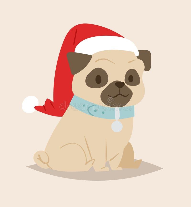 Tecken för valp för tecknad film för julhundvektor gulliga stock illustrationer