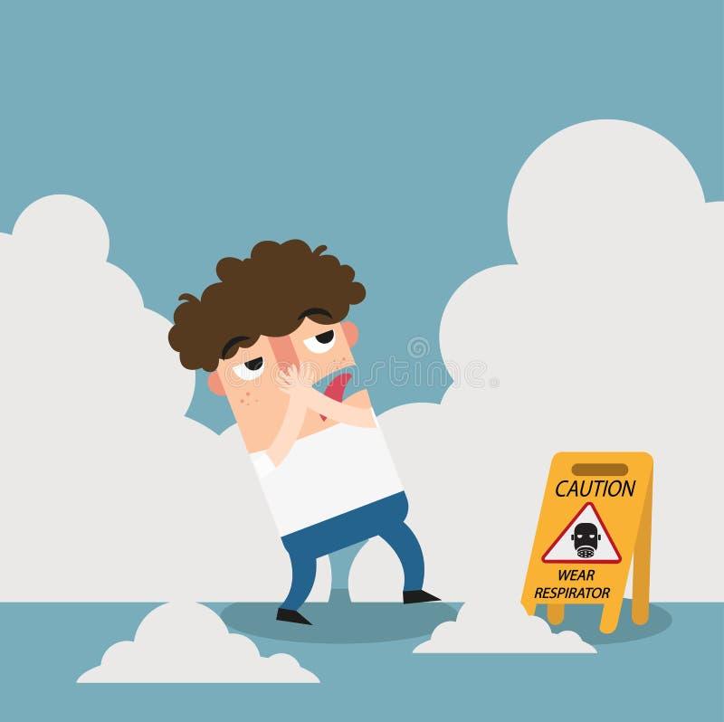 Tecken för varning för farakläderrespirator vektor illustrationer