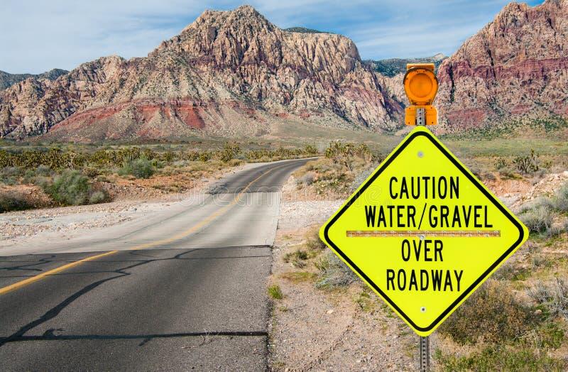 Tecken för varning för flodområde arkivfoto