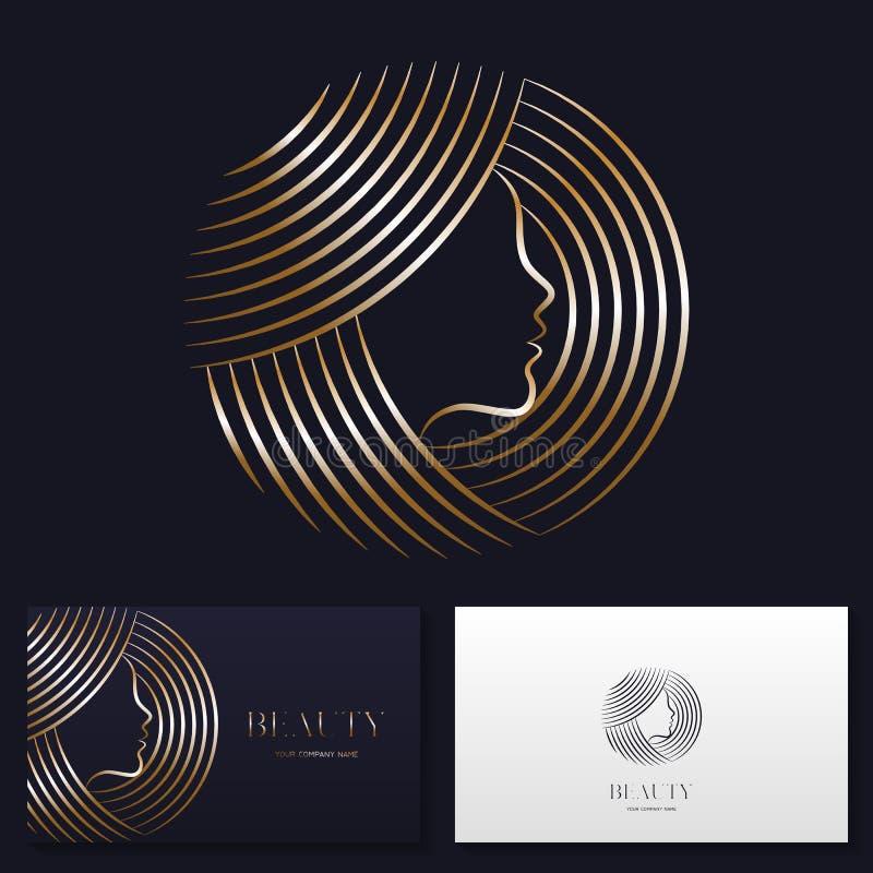 Tecken för vektor för design för logo för skönhetsalong eller för hårsalong vektor illustrationer