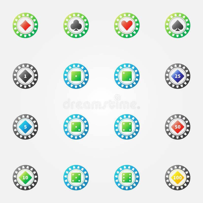 Tecken för vektor för pokerchiper ljust royaltyfri illustrationer
