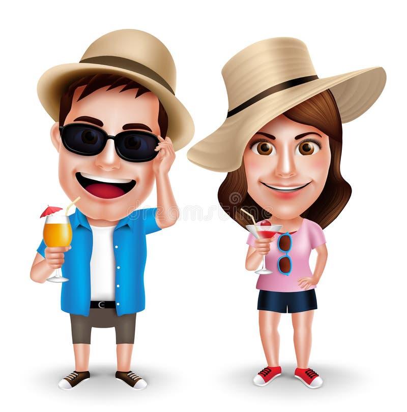 Tecken för vektor för sommarsemester av par som dricker fruktsafter stock illustrationer
