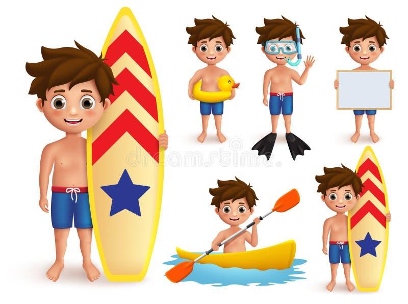 Tecken för vektor för sommarpojkeungar - uppsättning Strandpojke med utomhus- aktiviteter för sommardag som att surfa vektor illustrationer
