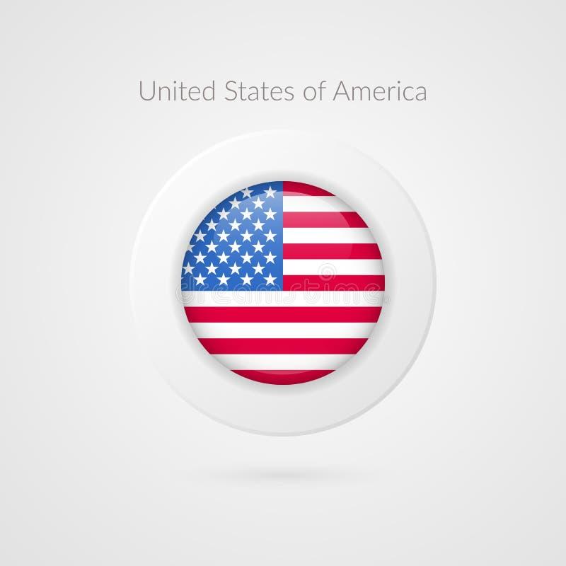 Tecken för vektorAmerikas förenta staterflagga USA cirkelsymbol Norr - amerikansk illustrationsymbol för loppet, sporthändelse stock illustrationer