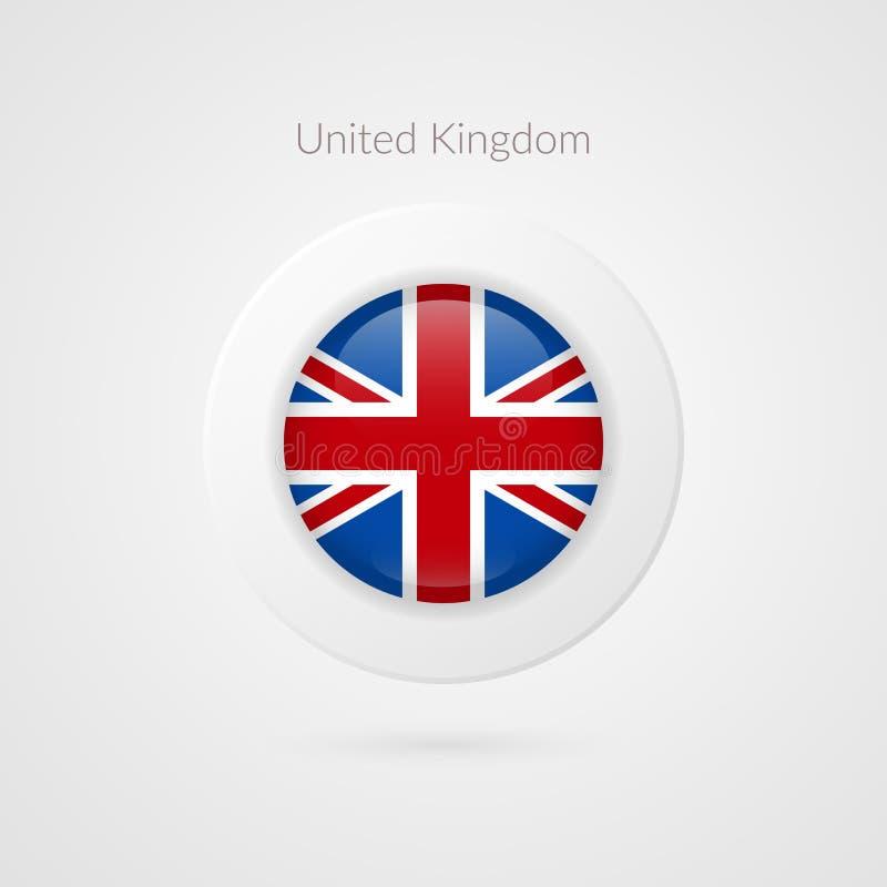 Tecken för vektorFörenade kungariket flagga Cirkel isolerat symbol Brittisk illustrationsymbol för lopp, annonsering, design, log vektor illustrationer