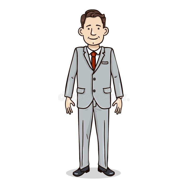 Tecken för vektortecknad filmfärg - affärsman i Gray Suit och röd slips royaltyfri illustrationer