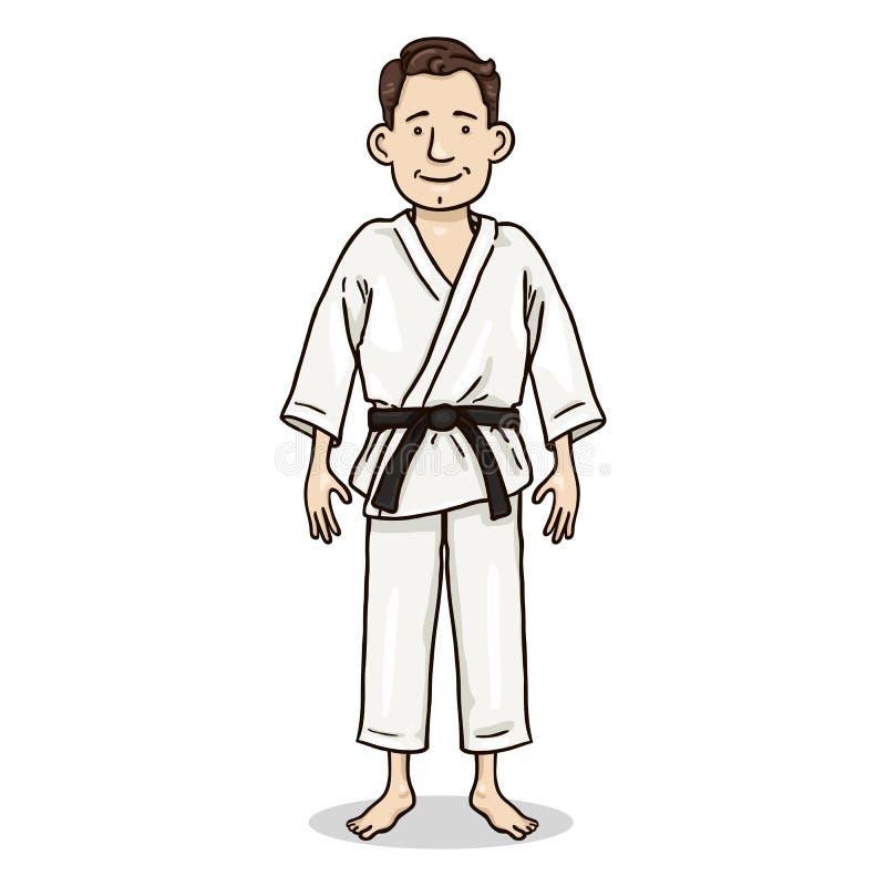 Tecken för vektortecknad filmfärg - ung man i den vita kimonot vektor illustrationer