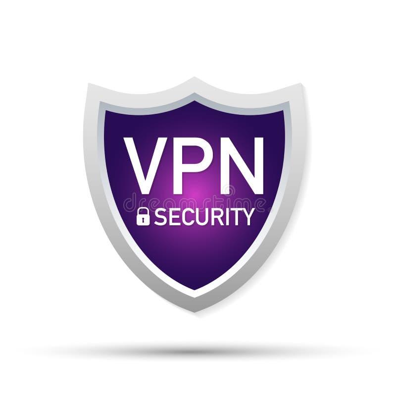 Tecken för VPN säkerhetssköld på vit bakgrund vektor illustrationer