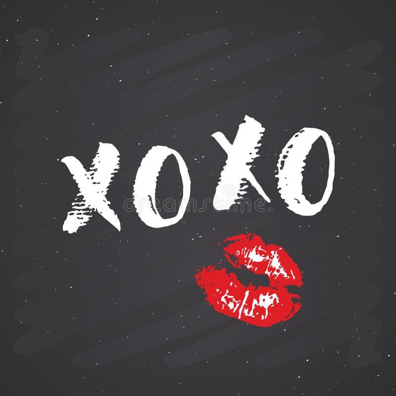 Tecken för XOXO-borstebokstäver, kramar för Grungecalligraphiv c royaltyfri illustrationer