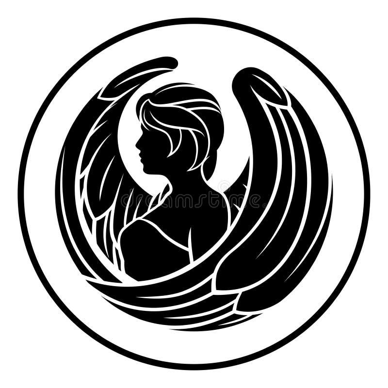 Tecken för zodiak för Jungfruastrologihoroskop stock illustrationer
