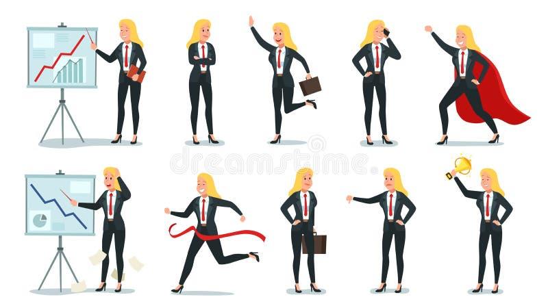 Tecken f?r aff?rskvinna Yrkesmässig arbetare för kontor, ung kvinnlig sekreterare och företags affärskvinnavektor royaltyfri illustrationer